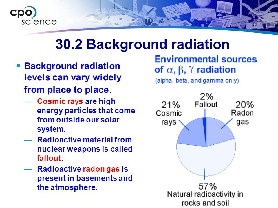 30.2 Background radiation Background radiation levels can vary widely from place to place.