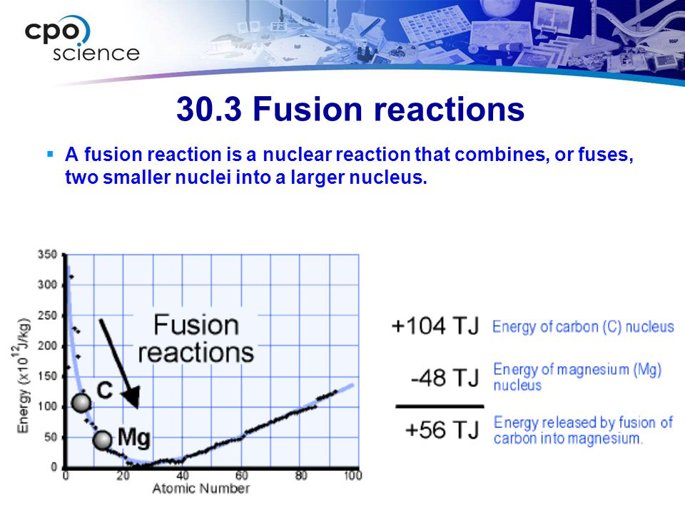 30.3 Fusion reactions A fusion reaction is a nuclear reaction that combines, or fuses, two smaller nuclei into a larger nucleus.