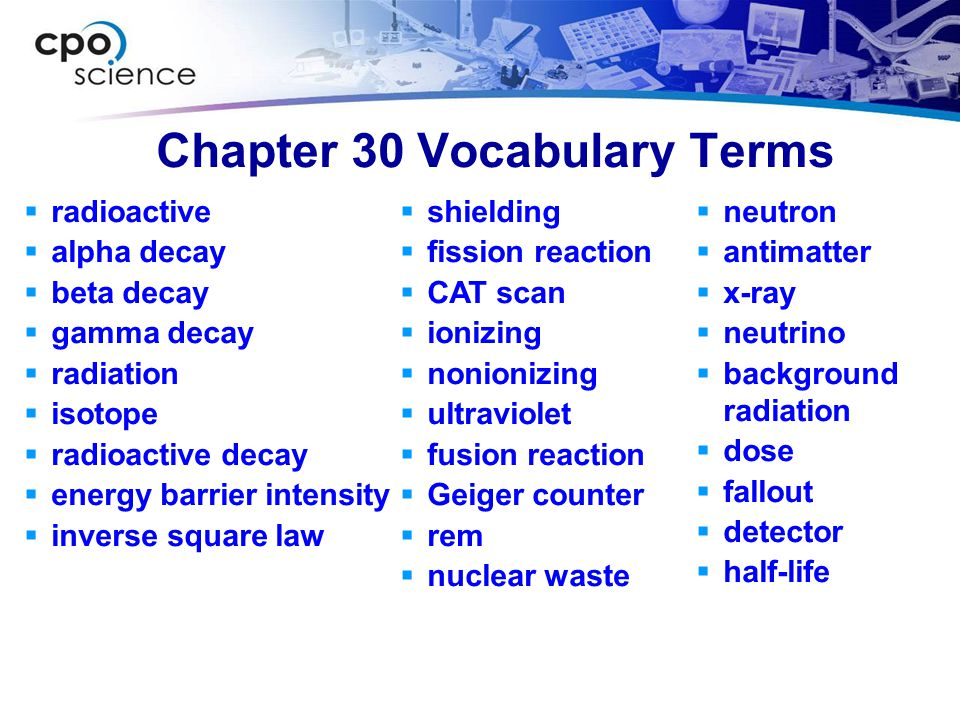 Chapter 30 Vocabulary Terms
