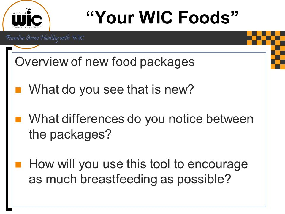 Your WIC Foods Overview of new food packages