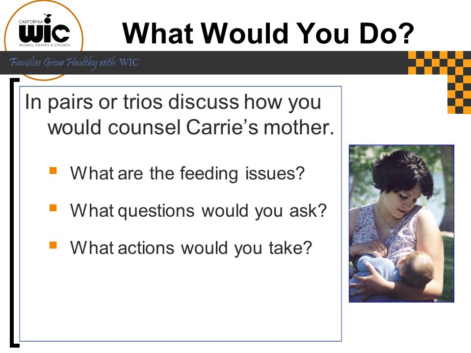What Would You Do In pairs or trios discuss how you would counsel Carrie's mother. What are the feeding issues
