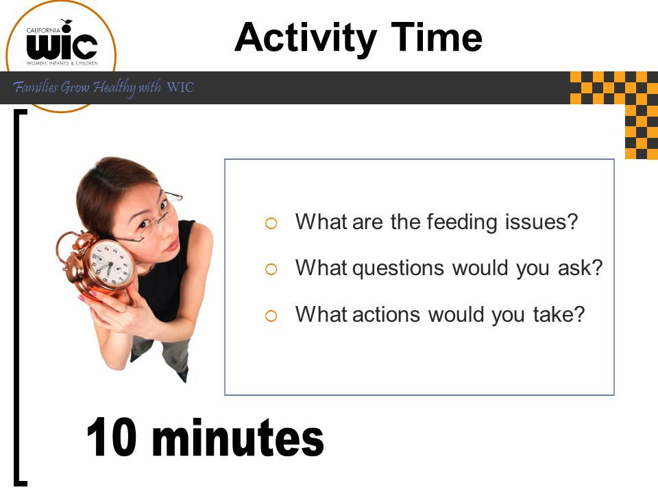 Activity Time 10 minutes What are the feeding issues