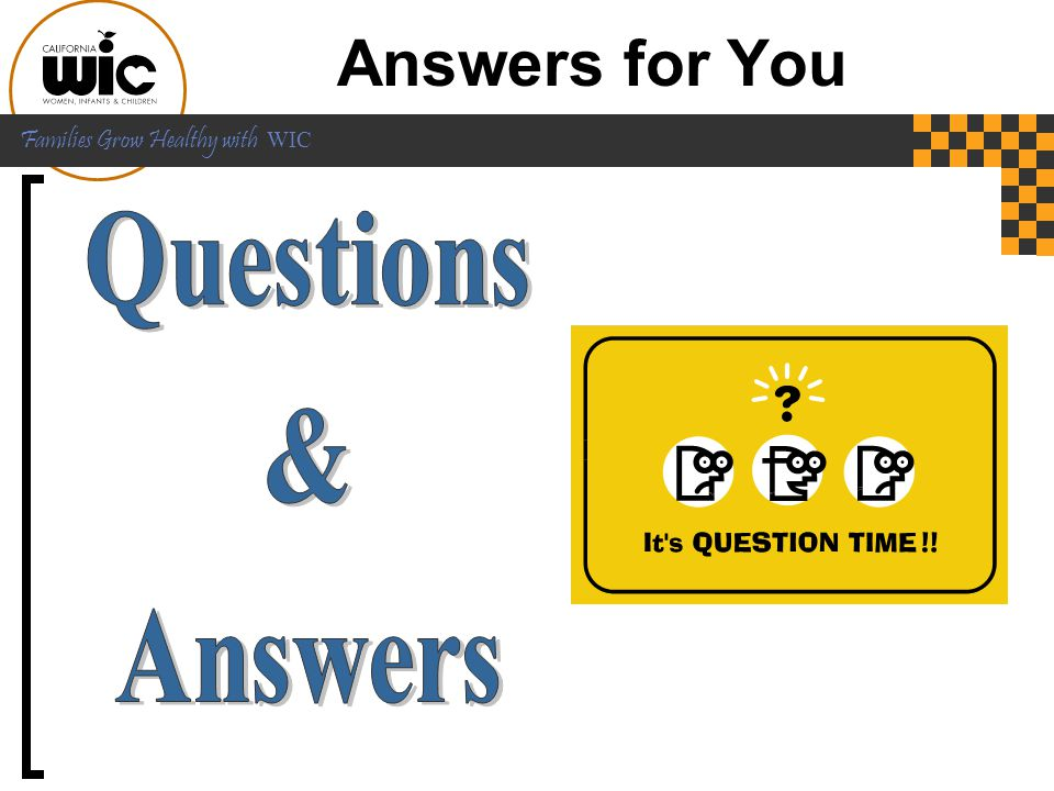 Answers for You Questions & Answers