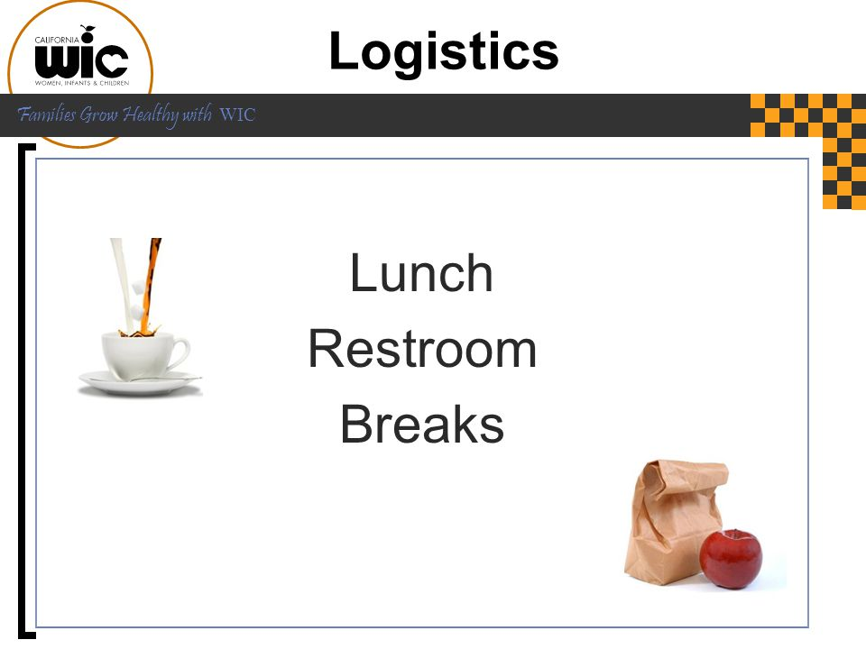 Logistics Lunch Restroom Breaks Let's do some logistics first: