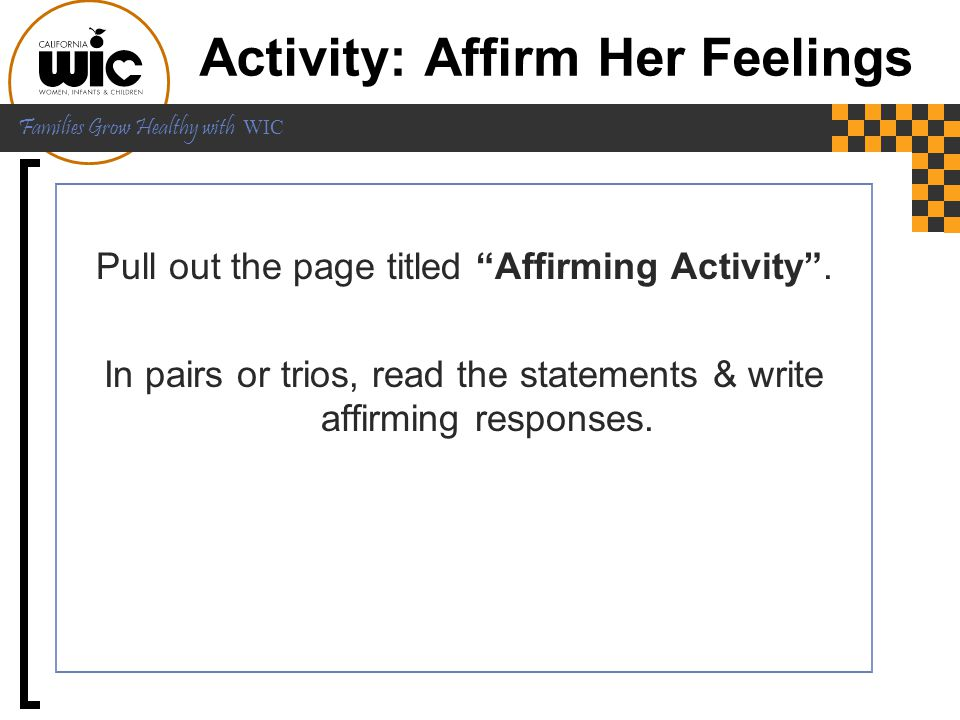 Activity: Affirm Her Feelings