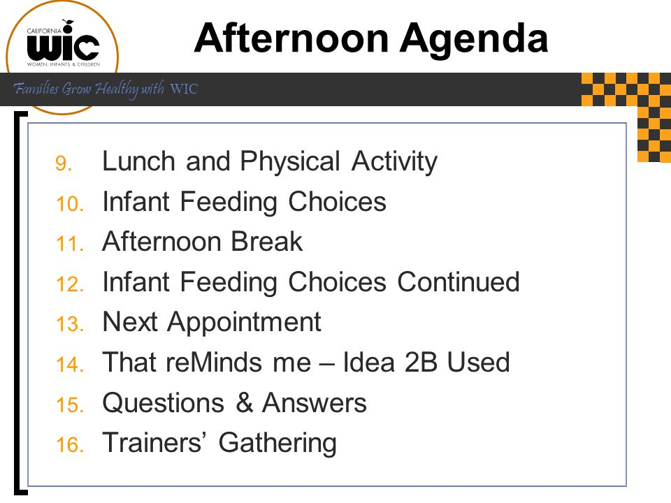 Afternoon Agenda Lunch and Physical Activity Infant Feeding Choices