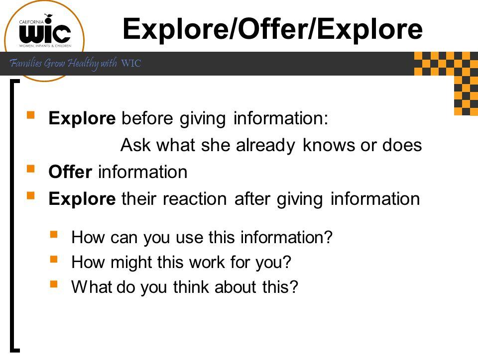 Explore/Offer/Explore