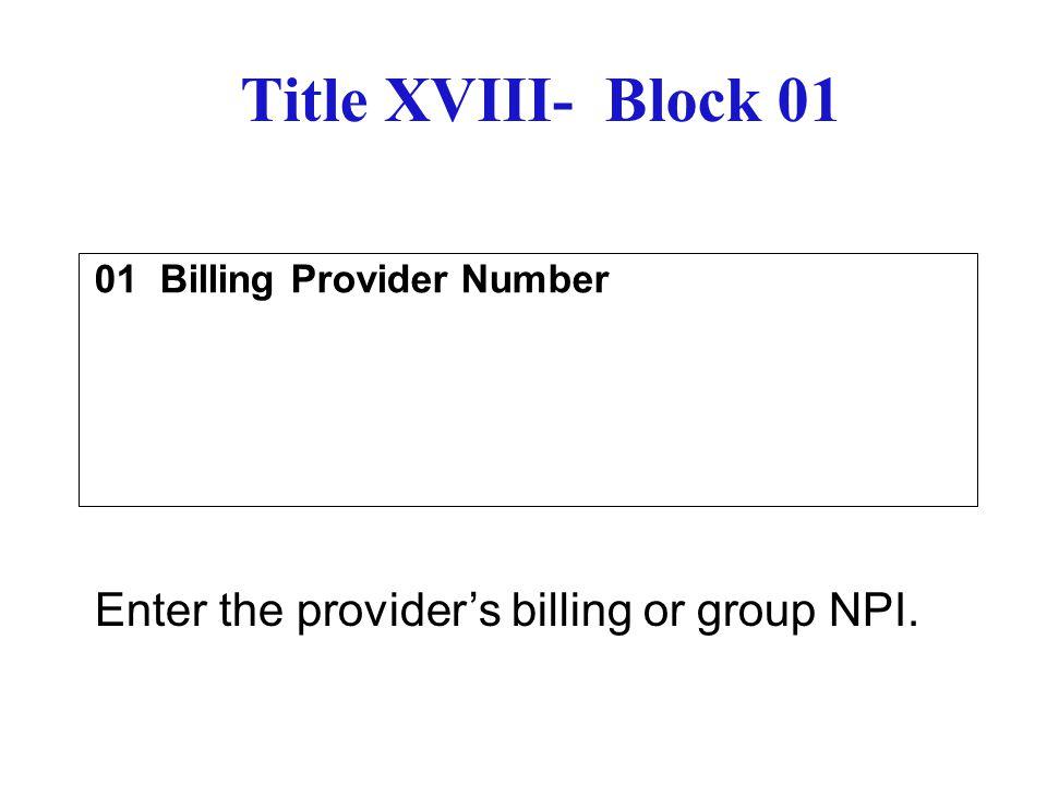 01 Billing Provider Number
