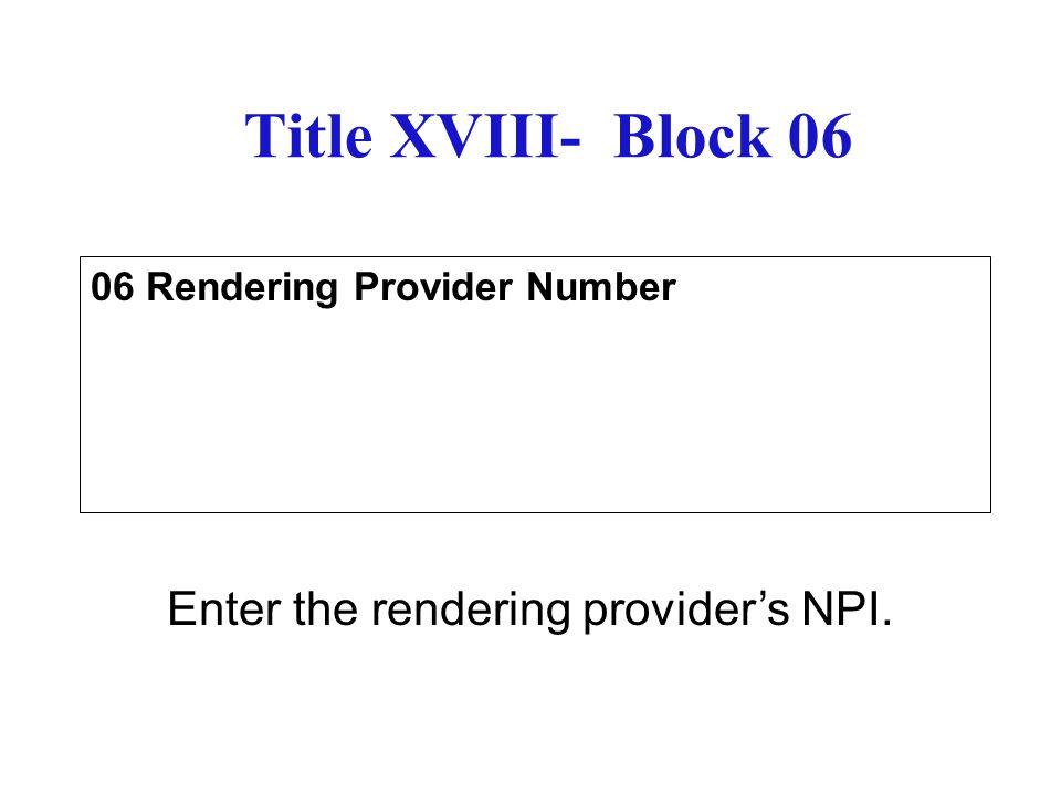 06 Rendering Provider Number