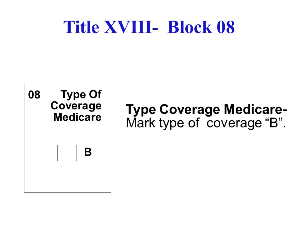 Type Coverage Medicare- Mark type of coverage B .