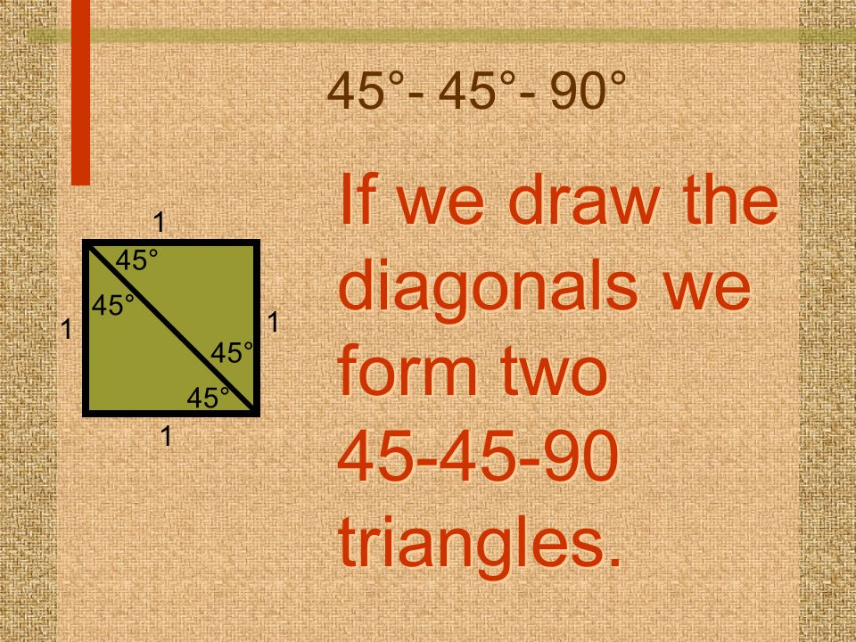 If we draw the diagonals we form two 45-45-90 triangles.