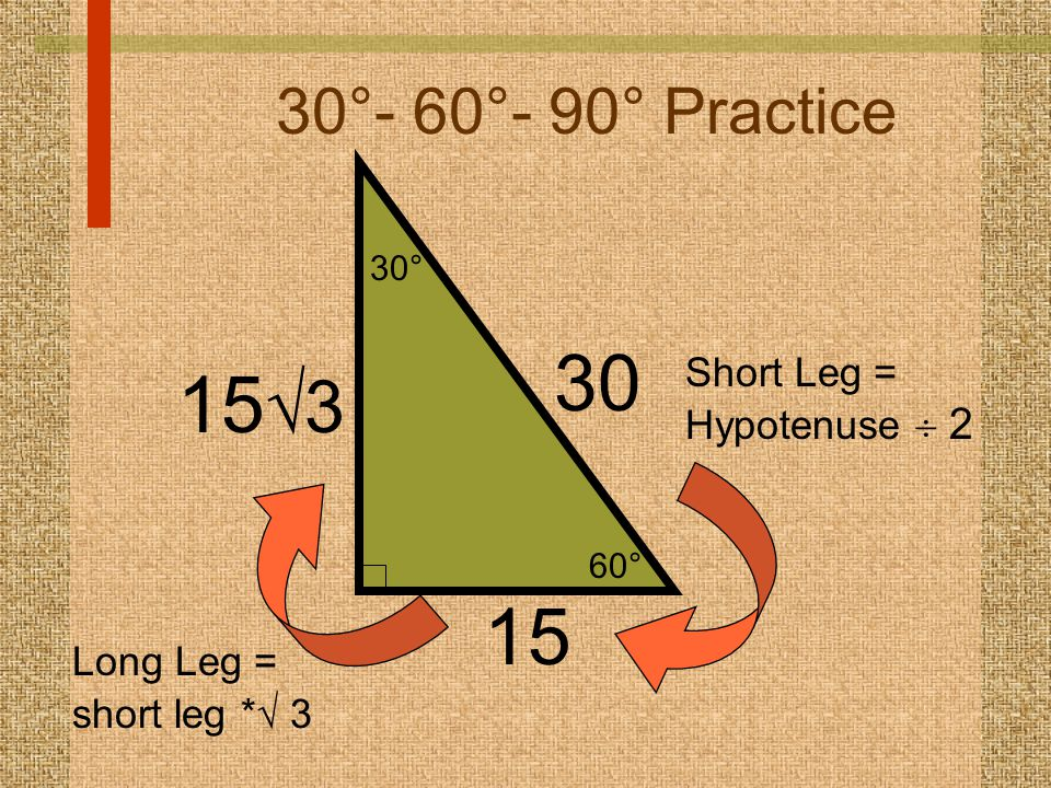 30 153 15 30°- 60°- 90° Practice Short Leg = Hypotenuse  2