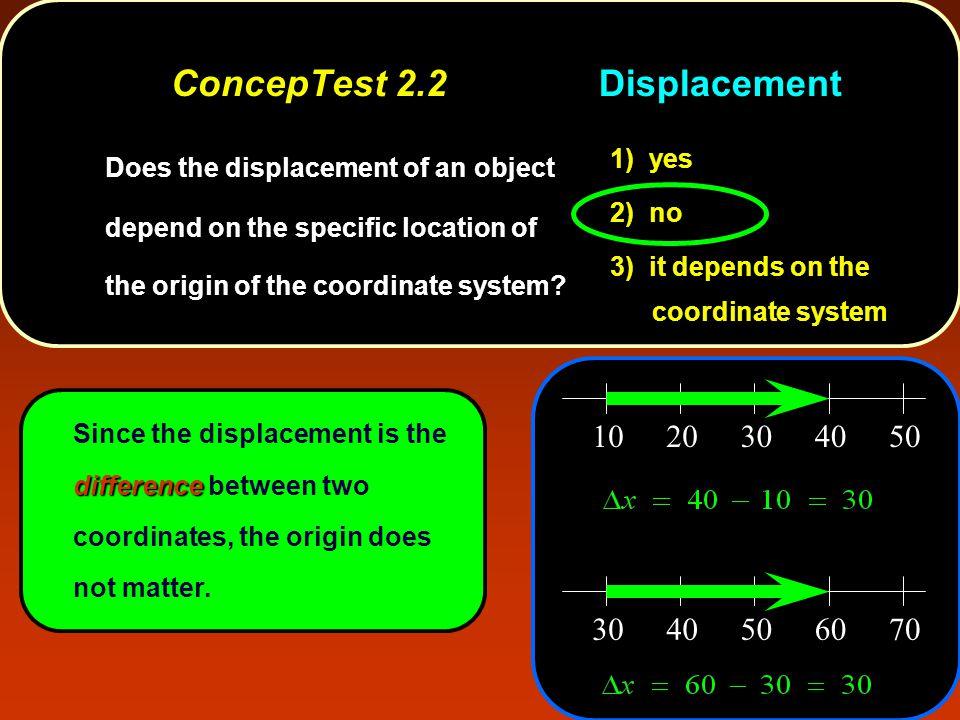 ConcepTest 2.2 Displacement