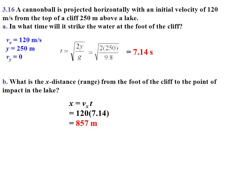 3.16 A cannonball is projected horizontally with an initial velocity of 120 m/s from the top of a cliff 250 m above a lake.