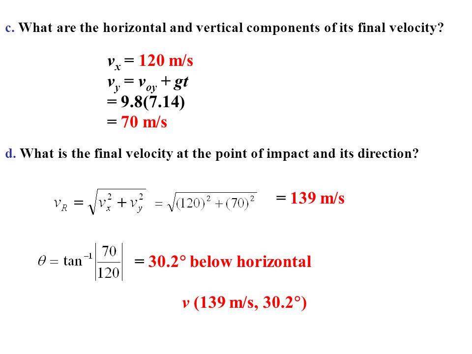 vx = 120 m/s vy = voy + gt = 9.8(7.14) = 70 m/s = 139 m/s