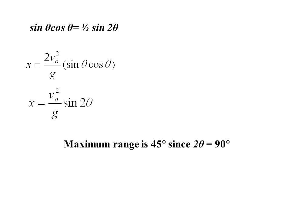 sin θcos θ= ½ sin 2θ Maximum range is 45 since 2θ = 90