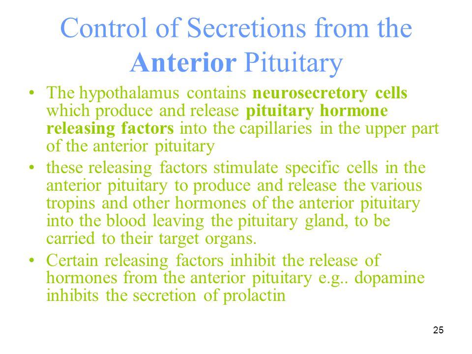 Control of Secretions from the Anterior Pituitary