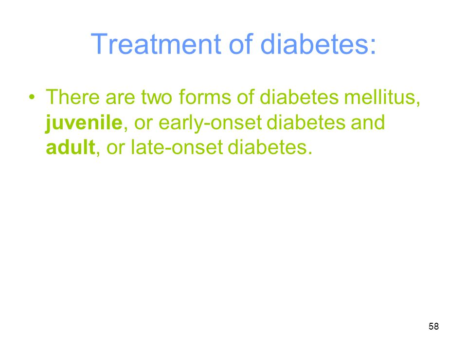 Treatment of diabetes: