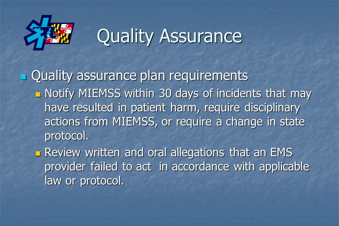 Quality Assurance Quality assurance plan requirements