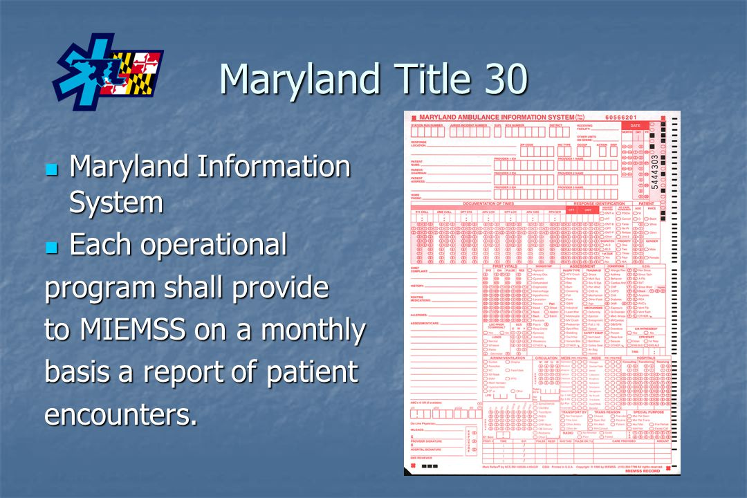 Maryland Title 30 Maryland Information System Each operational
