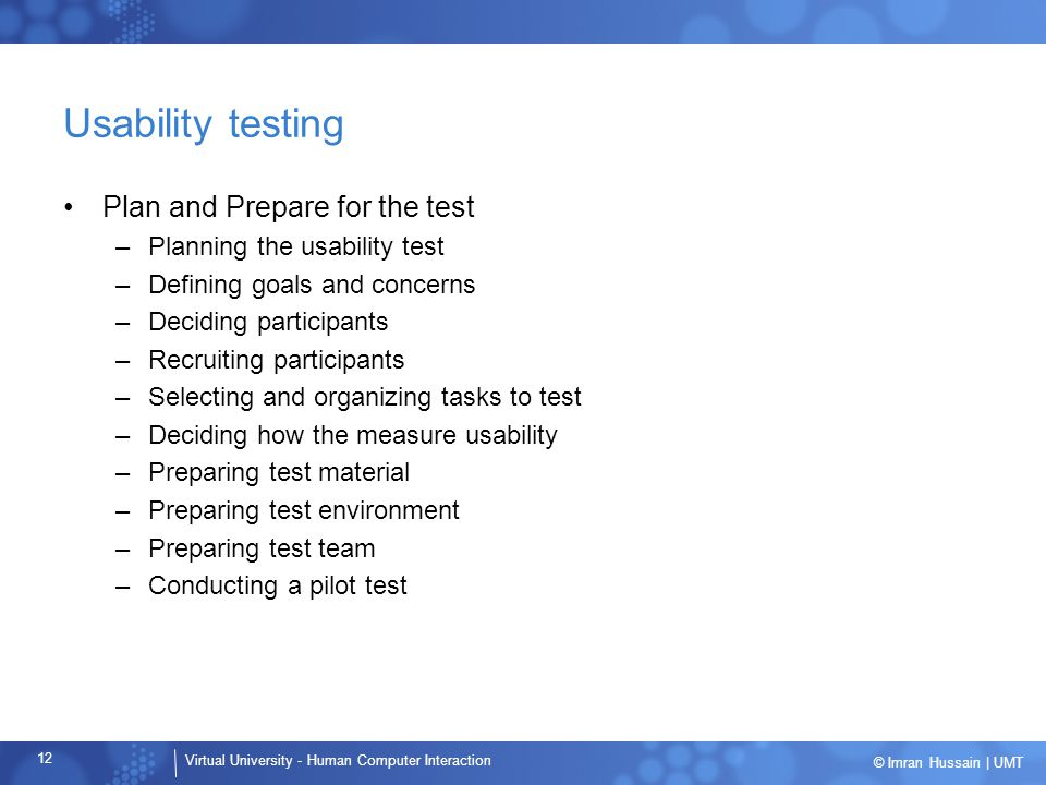 Usability testing Plan and Prepare for the test