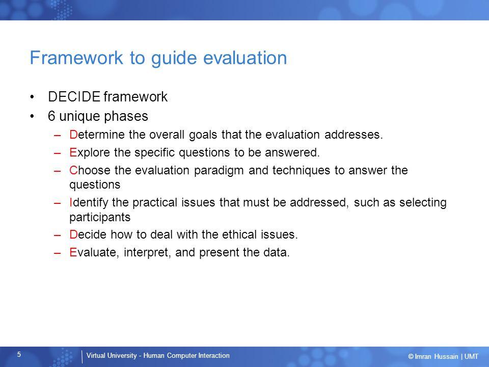 Framework to guide evaluation