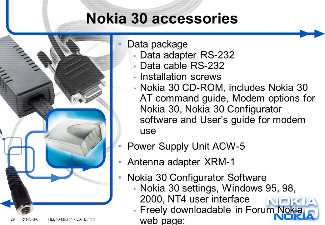 Nokia 30 accessories Data package Data adapter RS-232