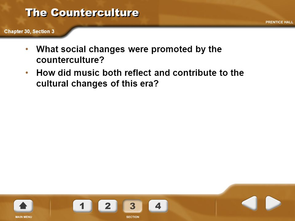 The Counterculture Chapter 30, Section 3. What social changes were promoted by the counterculture