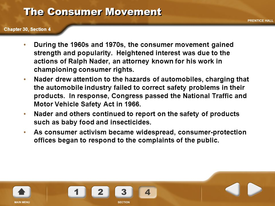 The Consumer Movement Chapter 30, Section 4.