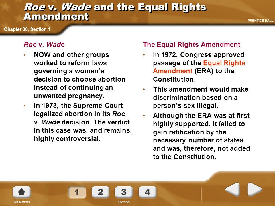 Roe v. Wade and the Equal Rights Amendment