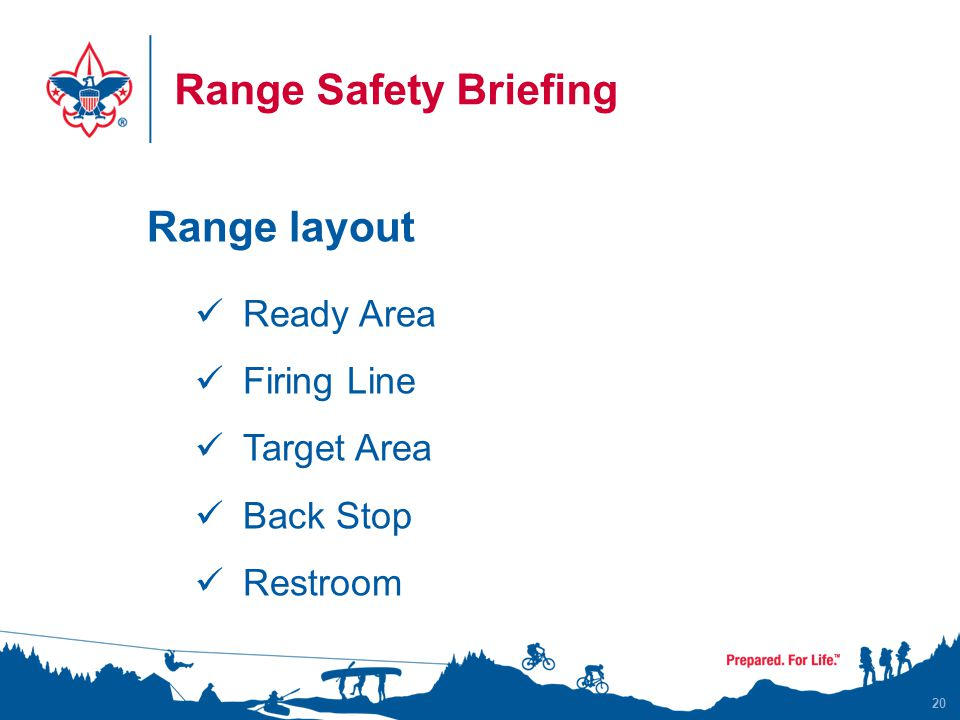 Range Safety Briefing Range layout Ready Area Firing Line Target Area