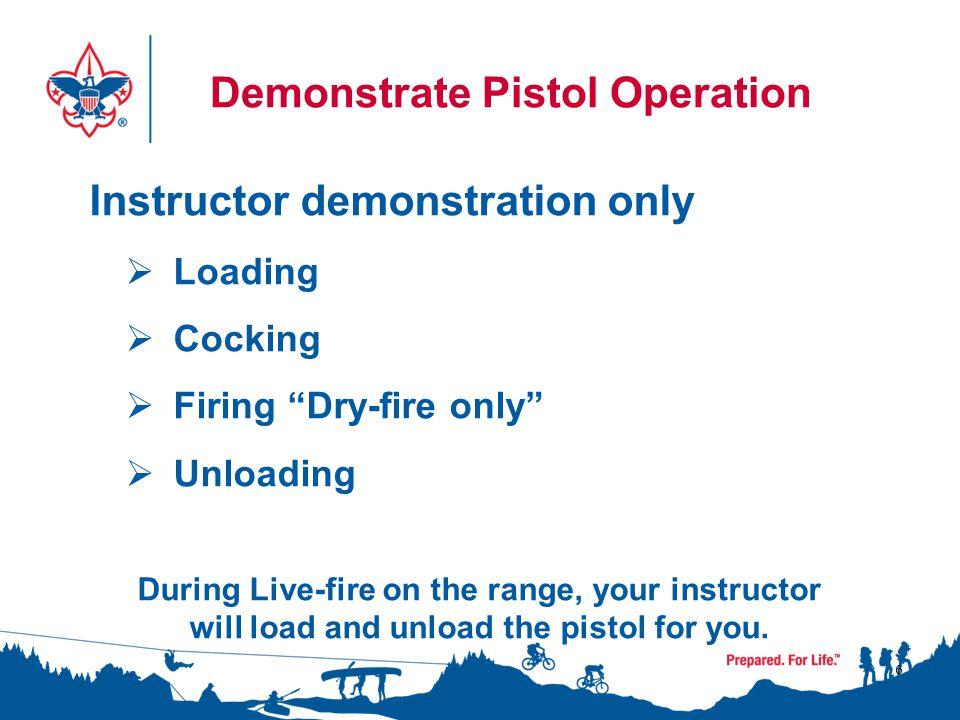 Demonstrate Pistol Operation