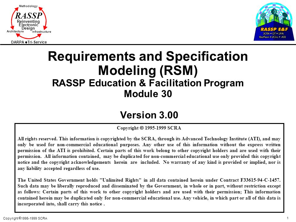 Requirements and Specification Modeling (RSM) RASSP Education & Facilitation Program Module 30 Version 3.00