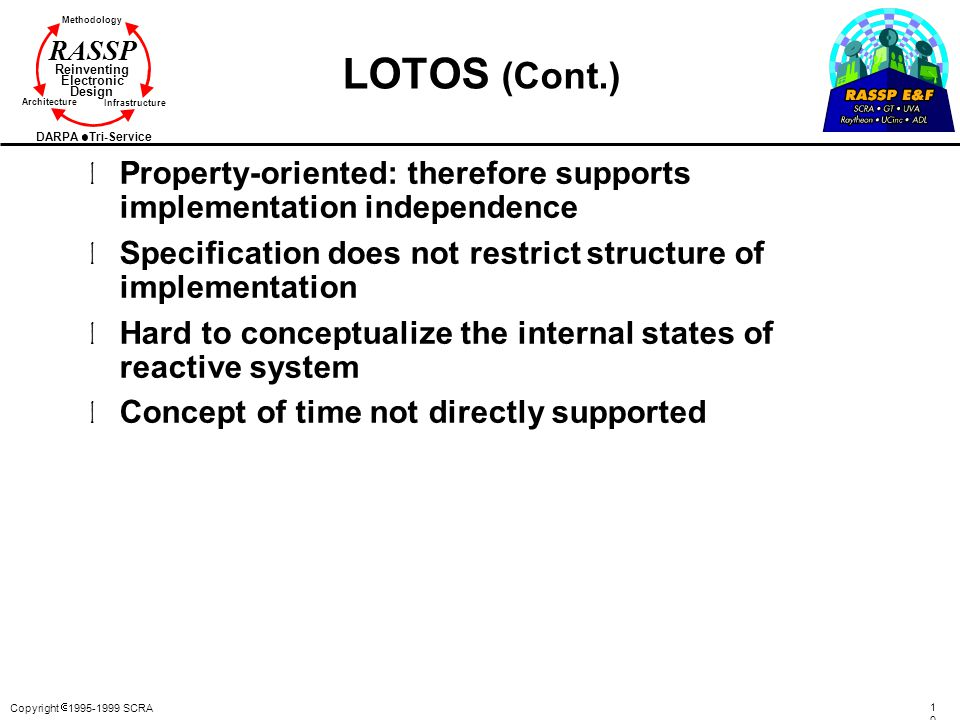 LOTOS (Cont.) Property-oriented: therefore supports implementation independence. Specification does not restrict structure of implementation.