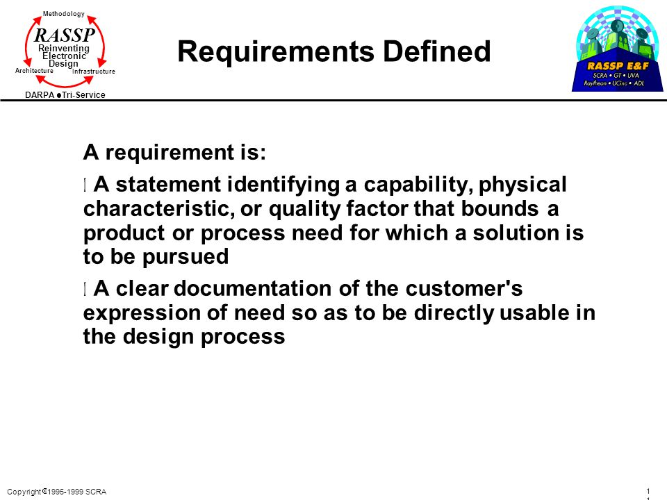 Requirements Defined A requirement is:
