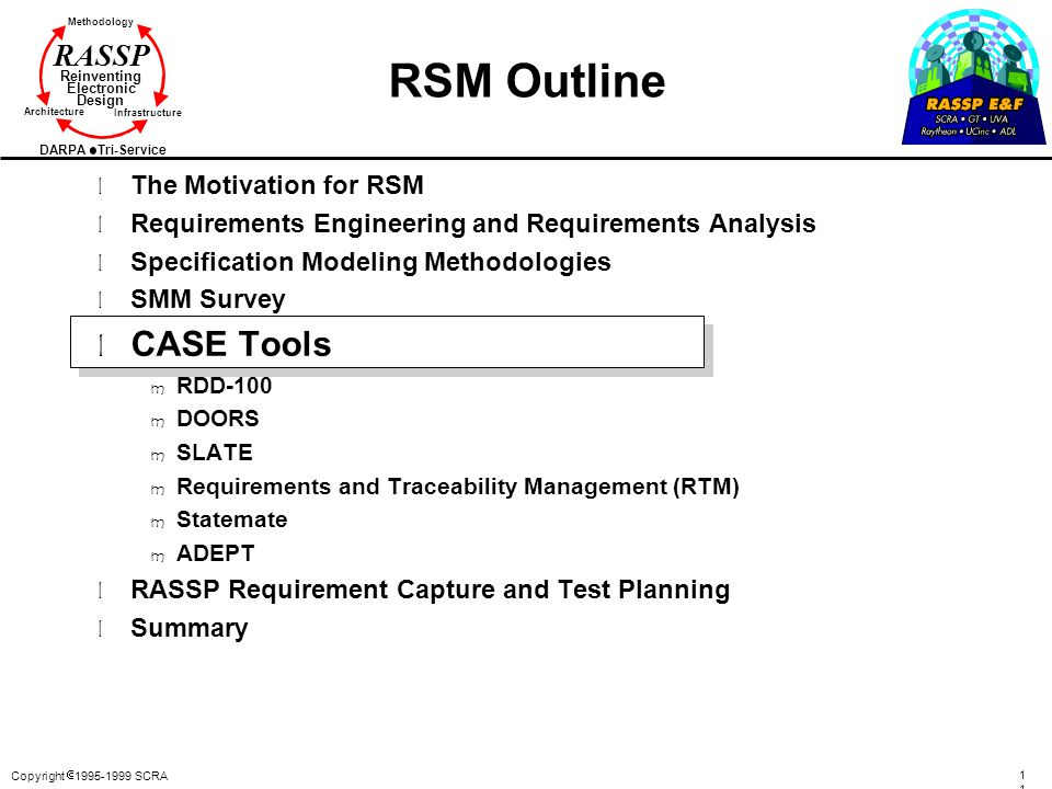 RSM Outline CASE Tools The Motivation for RSM