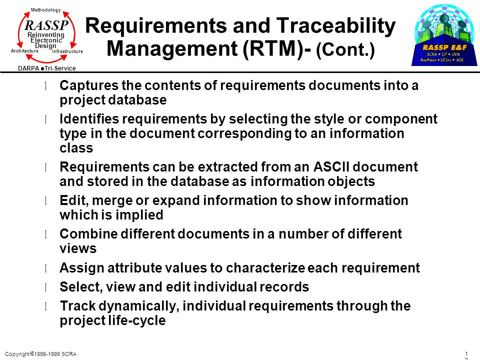 Requirements and Traceability Management (RTM)- (Cont.)