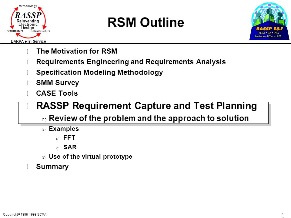 RSM Outline RASSP Requirement Capture and Test Planning