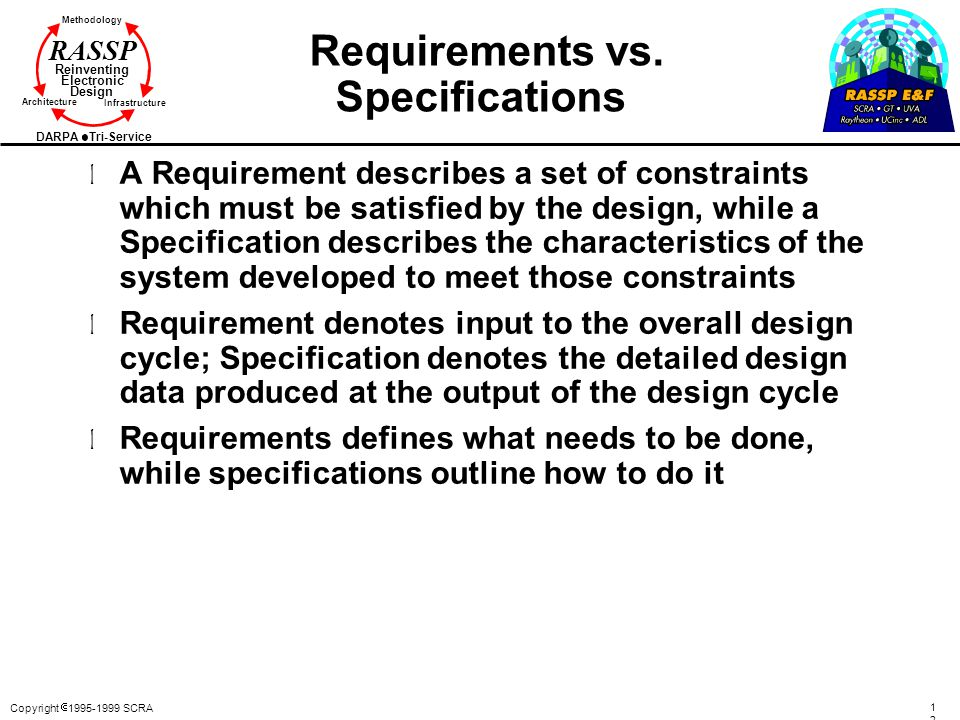 Requirements vs. Specifications