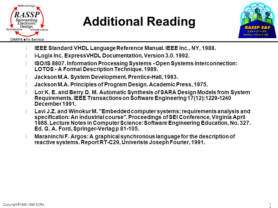 Additional Reading IEEE Standard VHDL Language Reference Manual. IEEE Inc., NY, 1988. i-Logix Inc. ExpressVHDL Documentation, Version 3.0. 1992.