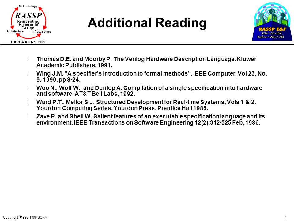 Additional Reading Thomas D.E. and Moorby P. The Verilog Hardware Description Language. Kluwer Academic Publishers, 1991.