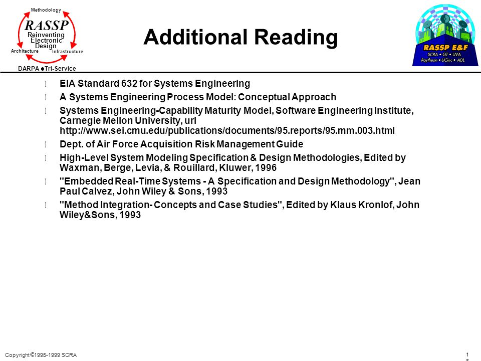 Additional Reading EIA Standard 632 for Systems Engineering