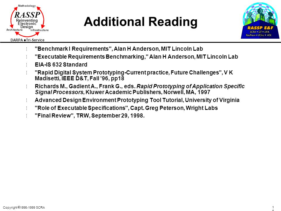 Additional Reading Benchmark I Requirements , Alan H Anderson, MIT Lincoln Lab.