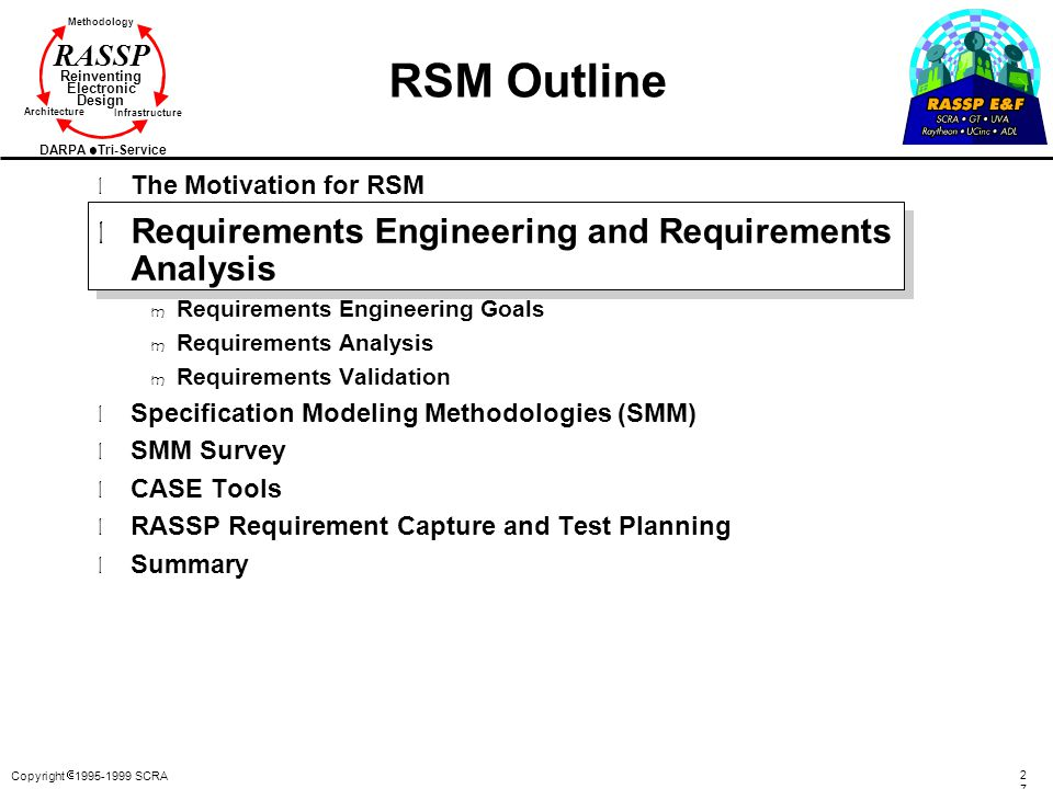 RSM Outline Requirements Engineering and Requirements Analysis