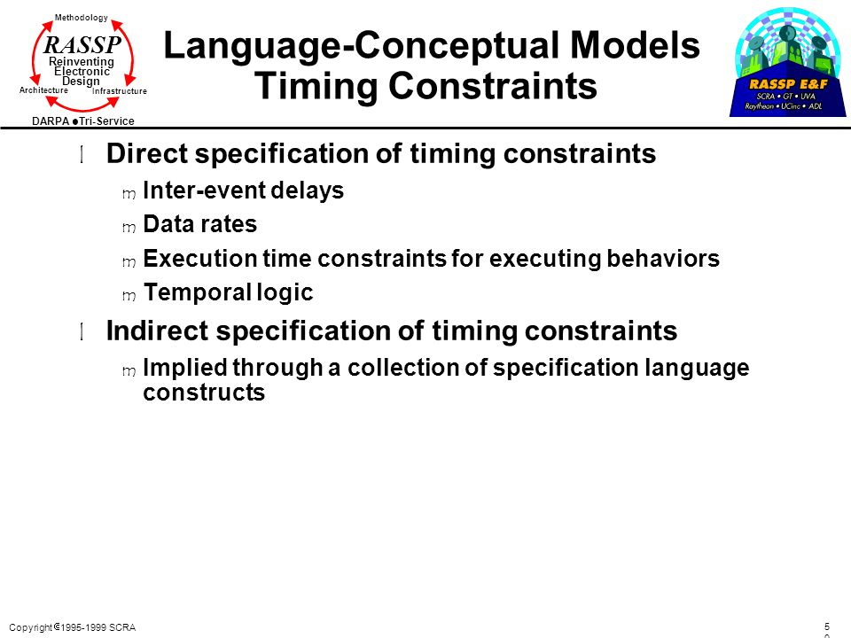 Language-Conceptual Models Timing Constraints