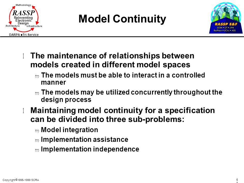 Model Continuity The maintenance of relationships between models created in different model spaces.