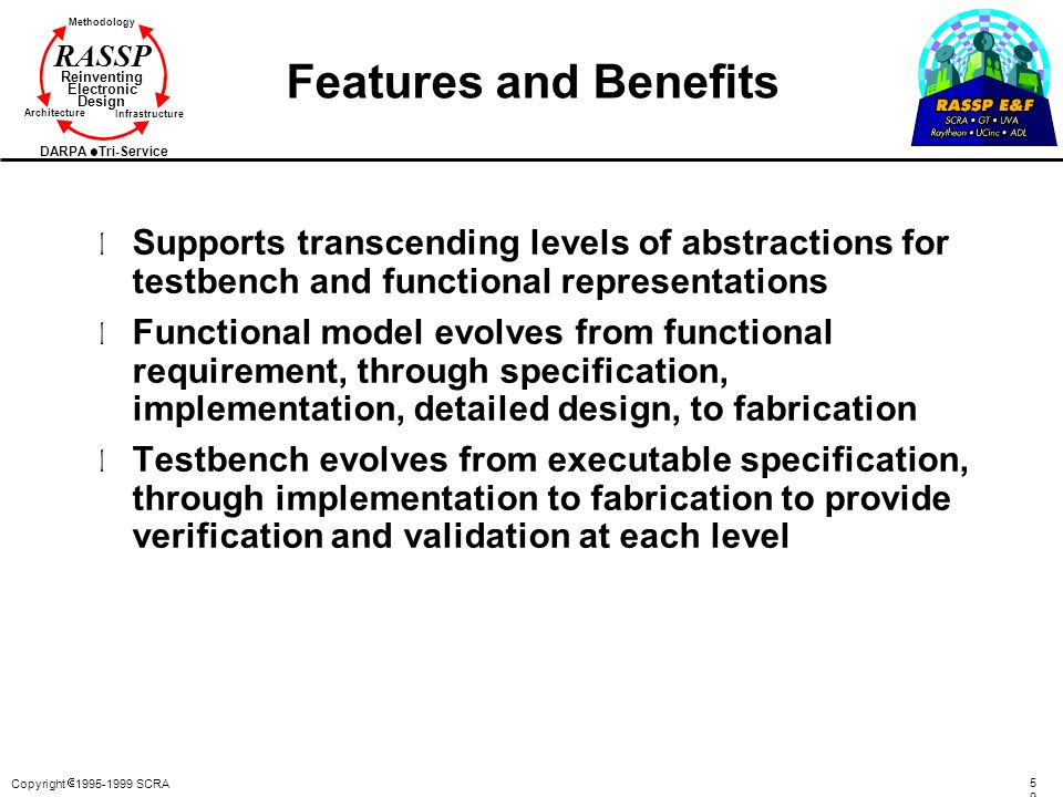 Features and Benefits Supports transcending levels of abstractions for testbench and functional representations.