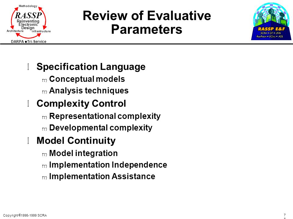 Review of Evaluative Parameters