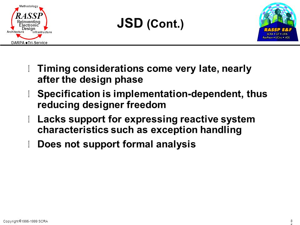 JSD (Cont.) Timing considerations come very late, nearly after the design phase.