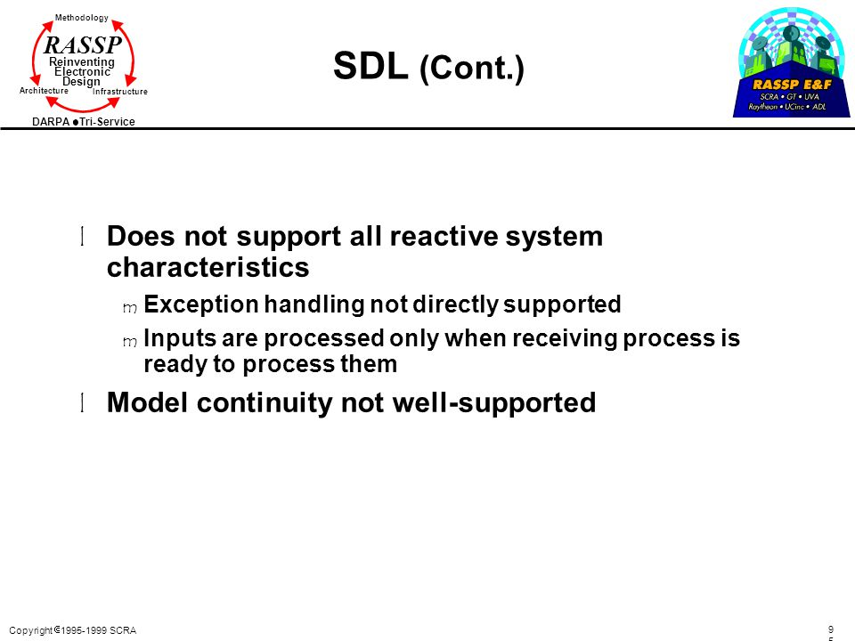 SDL (Cont.) Does not support all reactive system characteristics